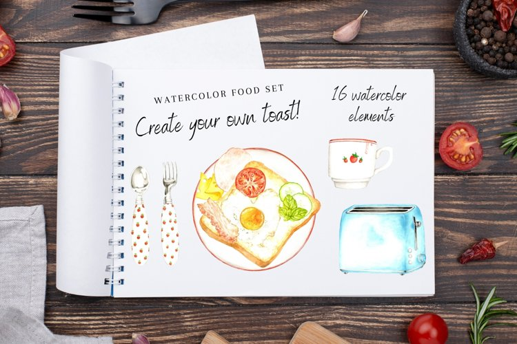 Watercolor Kitchen Clipart, Cooking Culinary Digital Set example image 1