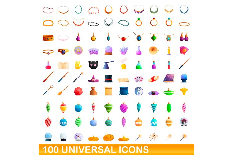 100 universal icons set, cartoon style example image 1