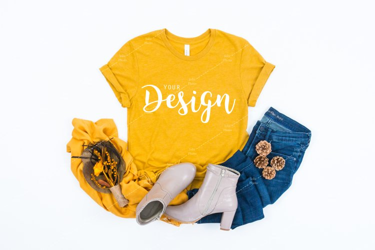 Bella Canvas 3001 Heather Mustard T-shirt Mockup for Fall example image 1