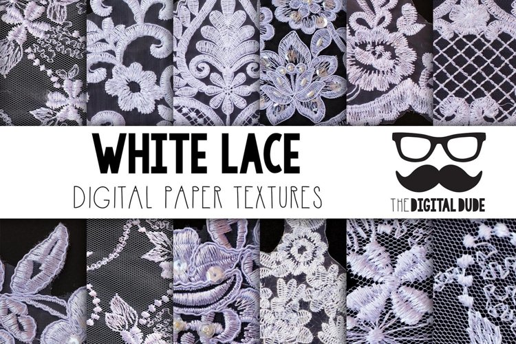 White Lace - Digital papers Set of 12 Images