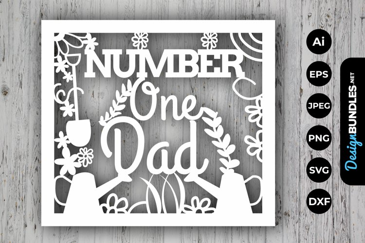 Number One Dad Papercut example image 1