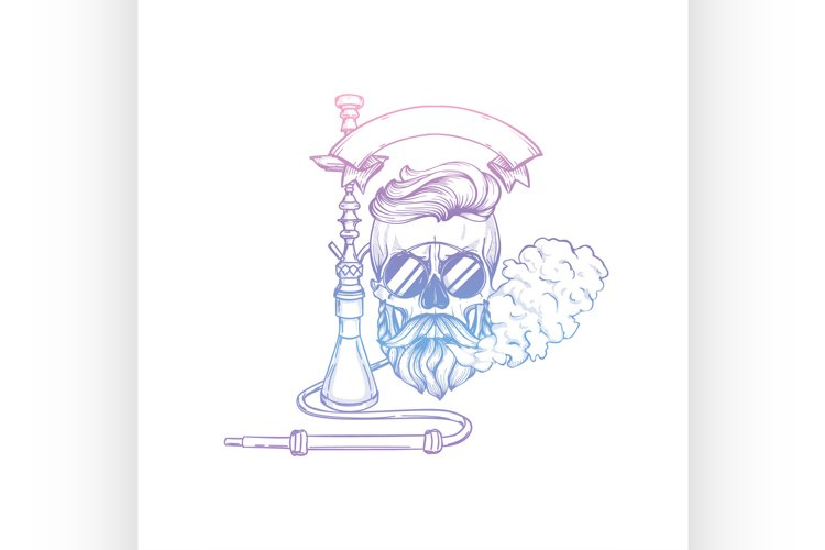 Sketch of hipster skull with hookah example image 1