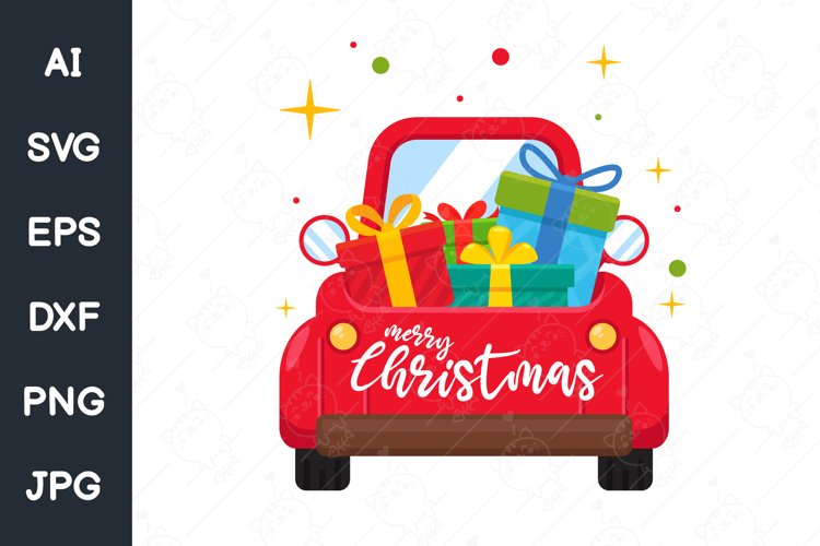 Christmas car. Red pickup truck carrying a Big gift box. example image 1