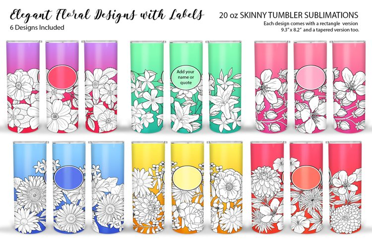 Skinny Tumbler Sublimation - Elegant Flowers with DIY Labels