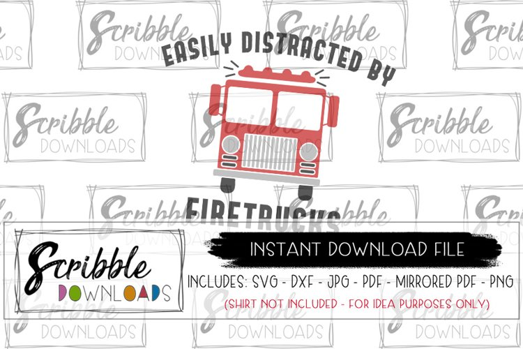 Easily Distracted by FIRETRUCKS SVG fireman fire engine