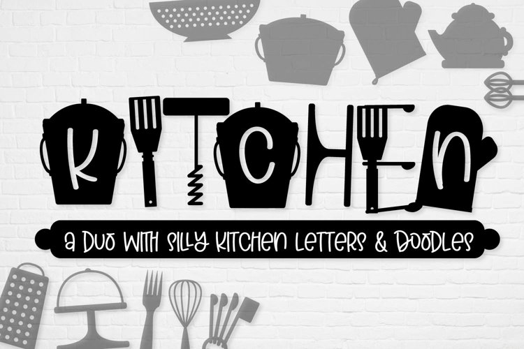 Kitchen - Font Duo of Silly Kitchen Letters & Doodles example image 1