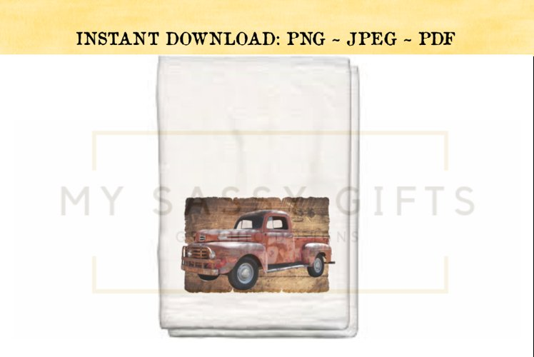 Rustic Red Truck With Distressed Wood Background PNG example image 1