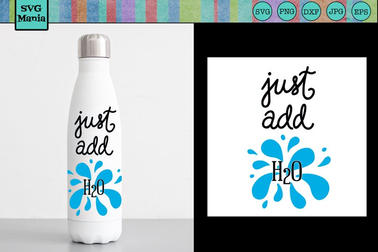 Water Bottle SVG, Water Bottle Label SVG, Just Add H20 SVG example image 1