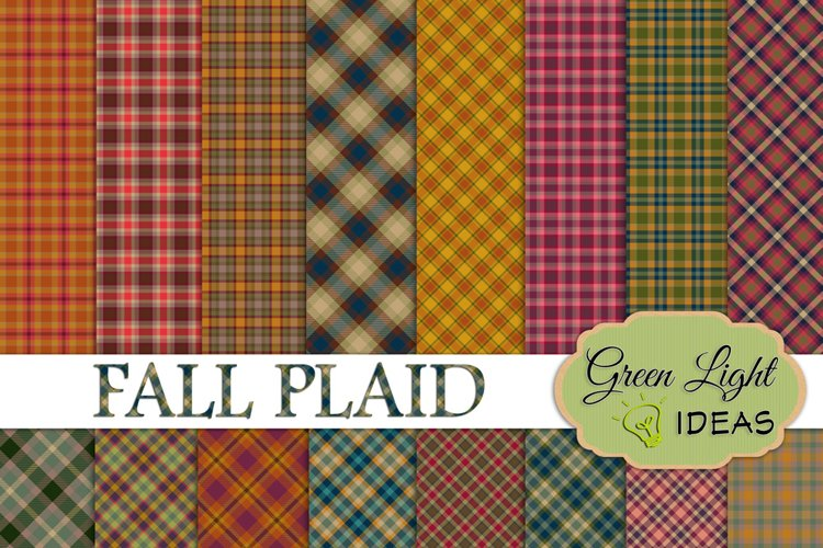 Fall Plaid Digital Papers, Plaid Backgrounds example image 1