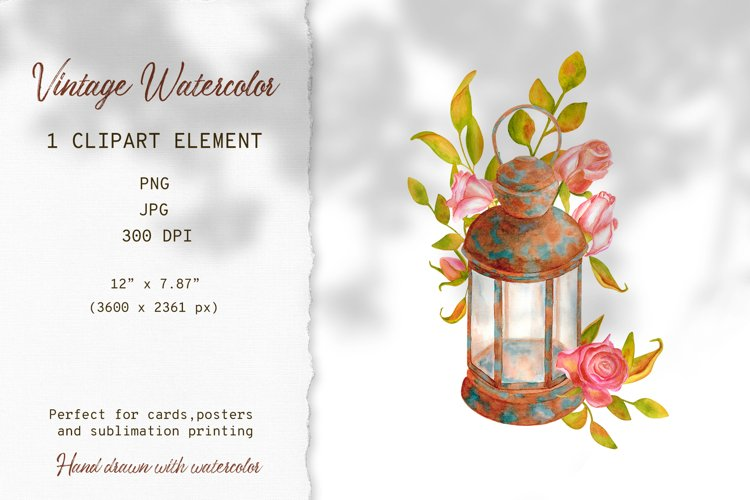 Vintage Lantern Watercolor PNG Sublimation Design example image 1