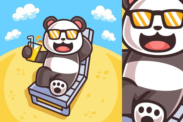 Illustration of Panda Sunbathe in Summer Season