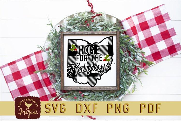 Home For The Holidays Ohio State Buffalo Plaid Christmas SVG example image 1