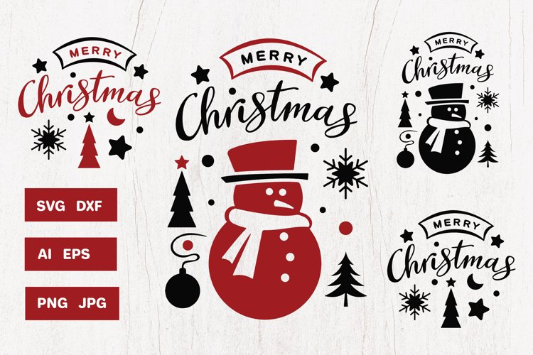Christmas design SVG with snowman and handmade quote example image 1