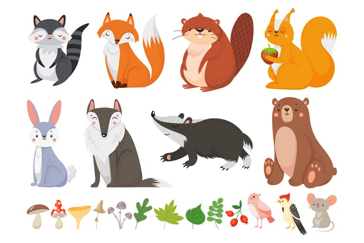 Funny wood animals. Wild forest animal, happy woodland fox a example image 1