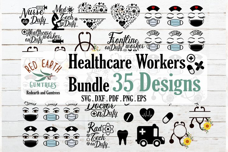 Healthcare workers bundle, nurse bundle SVG,PNG,EPS,DXF example image 1