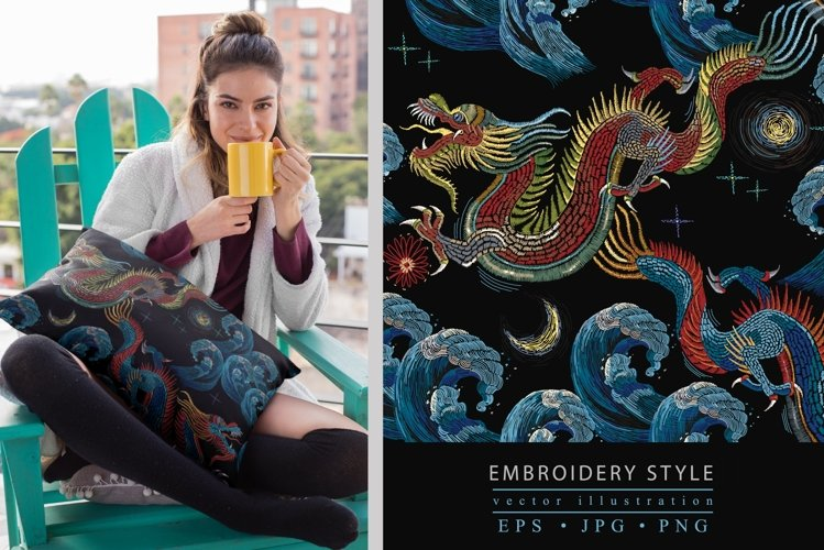 Embroidery style asian sea dragons