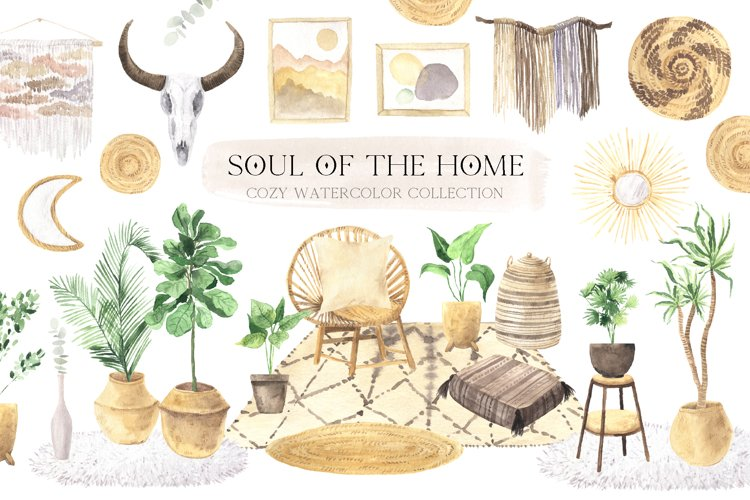 Watercolor Boho Home Interior Clipart example image 1