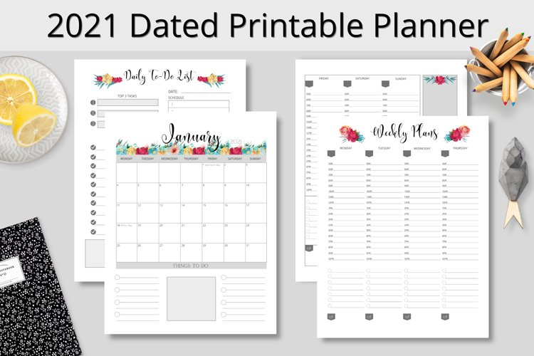 2021 Dated Printable Planner, Monthly, Weekly, Daily example image 1