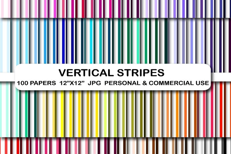 100 Stripes digital papers Vertical lines Stripes pattern example image 1