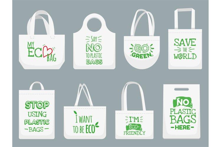 Eco fabric bag. Say no to plastic bags, polythene refuse ban example image 1