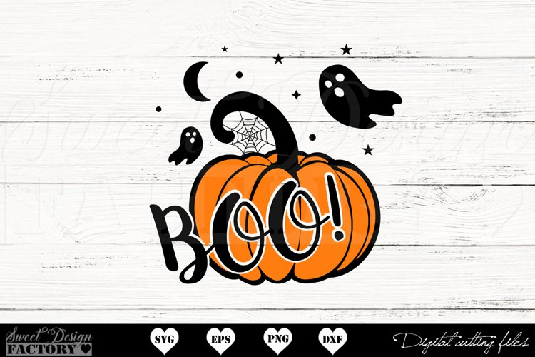 Boo pumpkin SVG example image 1