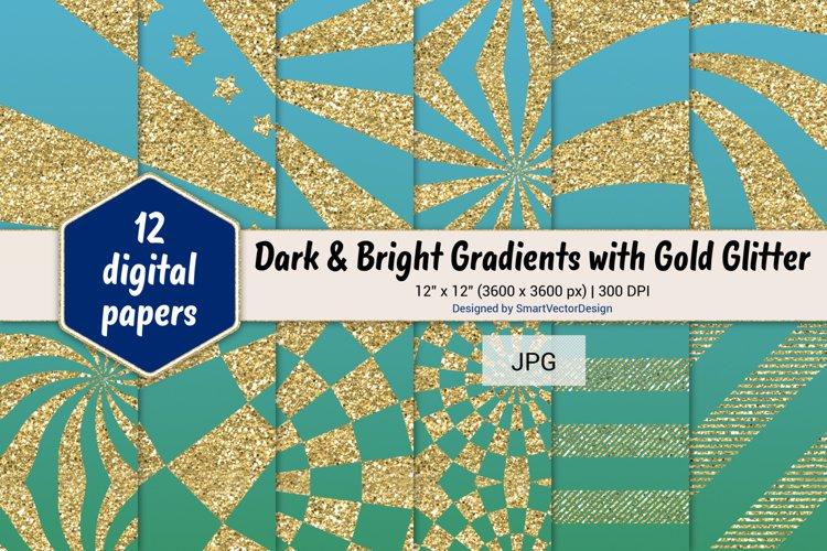 Sunburst & Hatch Stripes - Gradients with Gold Glitter #19