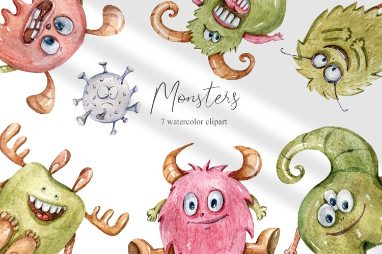 Watercolor monster clipart. Bacteria collection