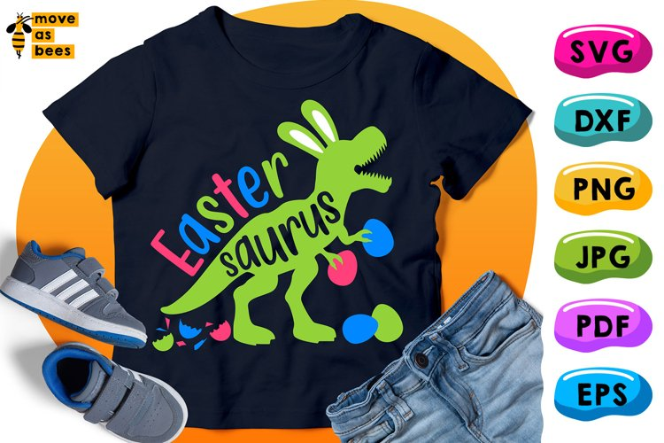 Easter Saurus Svg Dinosaur with Bunny Ears, Easter Shirt Svg example image 1
