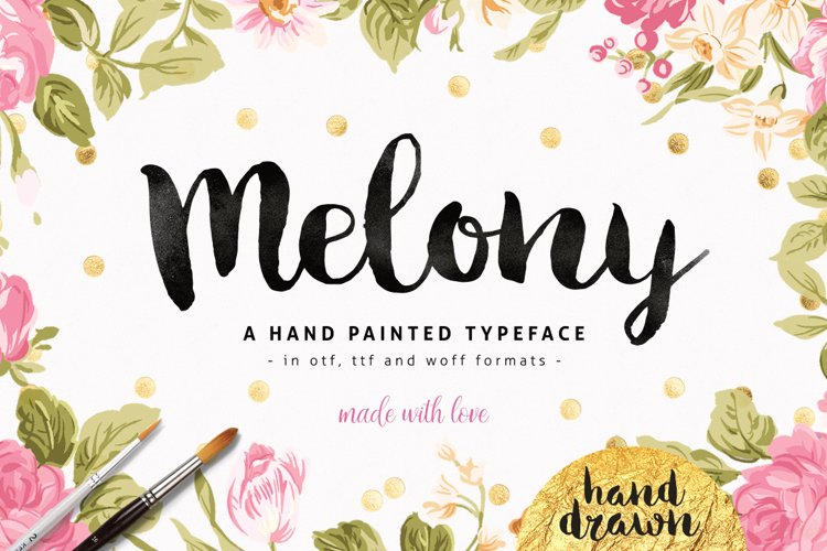 Melony Script, Hand Drawn Brush Font example image 1