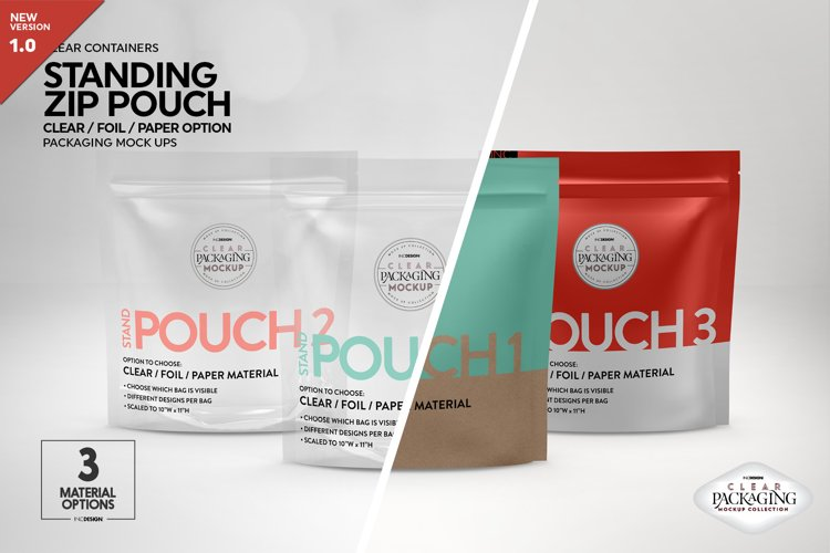 Clear Foil or Paper Stand Pouch Packaging Mockup example image 1