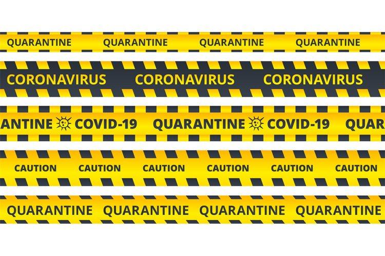 Yellow caution stripes. Quarantine coronavirus or COVID19 at