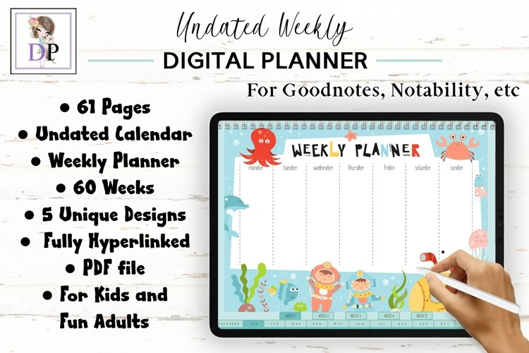 Fun Undated Weekly Digital Planner PDF CLICKABLE links v2