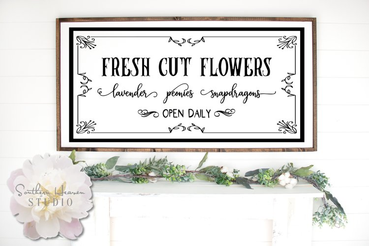 FRESH CUT FLOWERS, BLACK - SVG, PNG, DXF and EPS example image 1