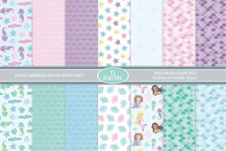 Pastel Mermaid Paper Pack - 14 Seamless Patterns
