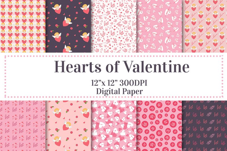 Hearts of Valentines Digital Paper