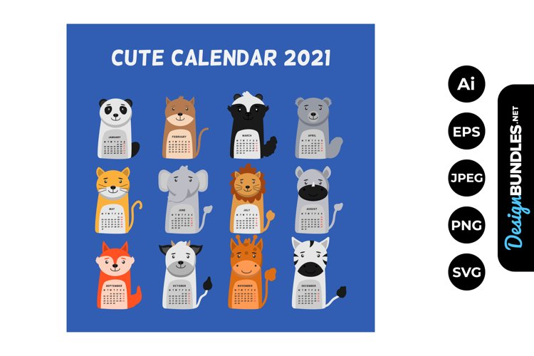 2021 Animal CalendarIllustrations