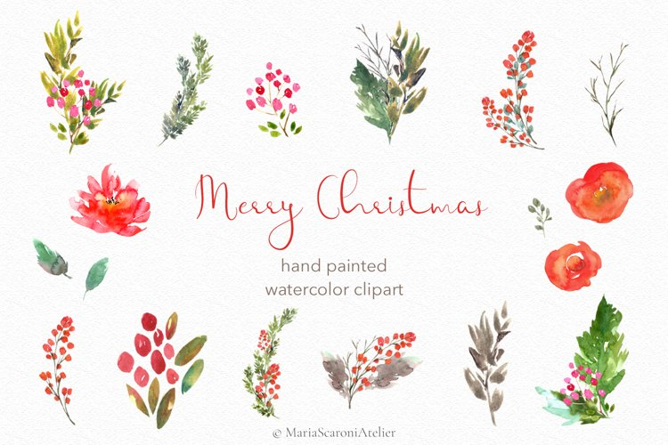 Merry Christmas - Watercolor Christmas Clipart example image 1