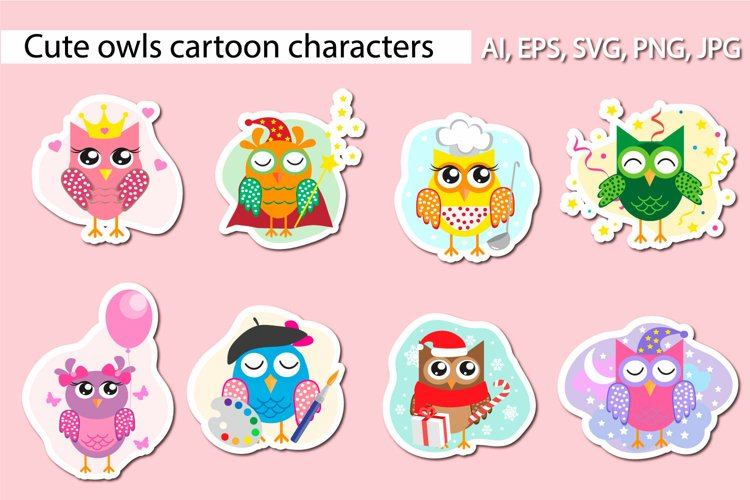 Set of cute different owls characters