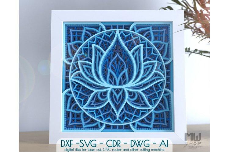 M136 - Lotus Flower Mandala, Shadow Box Mandala SVG DXF example image 1