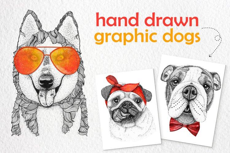 PET set Clipart. 9 dog with 16 clip art watercolor clothes