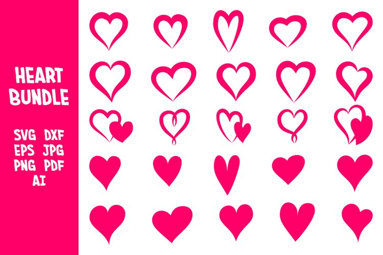 Bundle of of Heart Silhouettes SVG. Heart SVG Bundle. Hearts