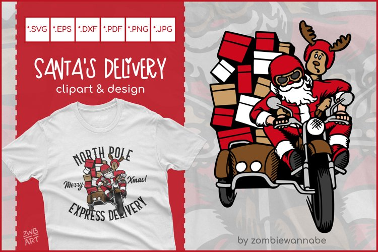 Biker Santa's North Pole Express Delivery for Crafters SVG example image 1