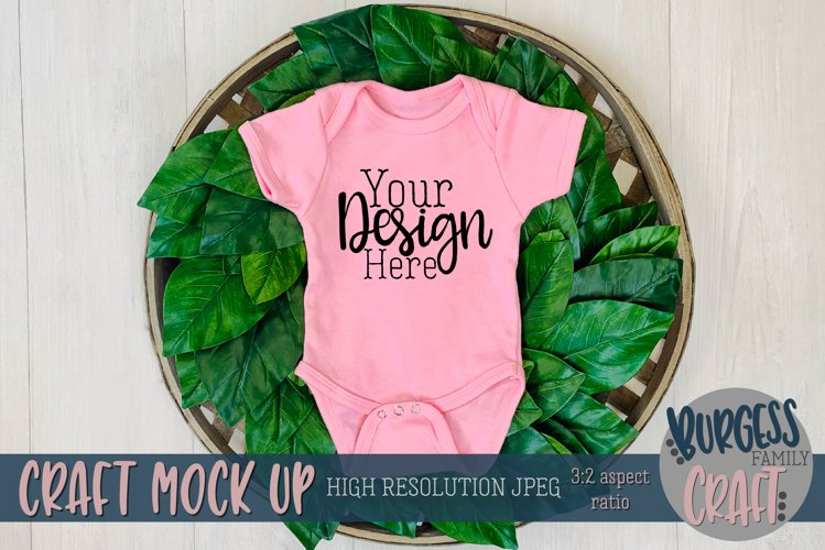 Pink baby bodysuit with greenery Craft mock up