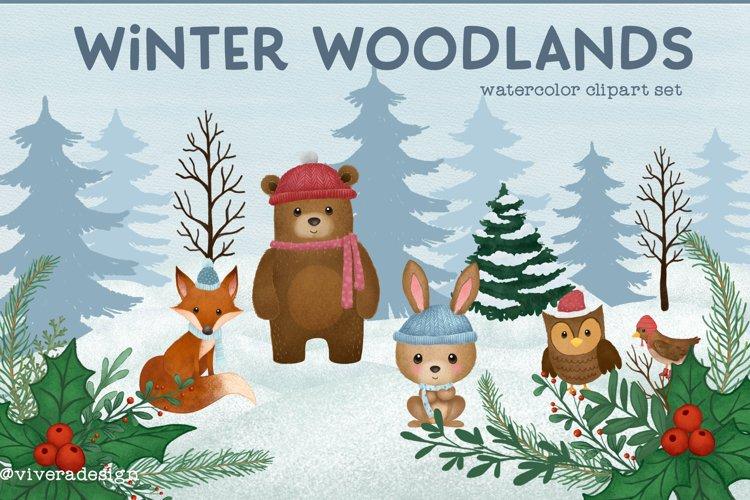 Winter Woodlands Watercolor Animal Cliparts