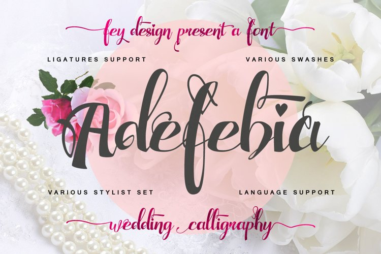 Adefebia Wedding Script Font example image 1