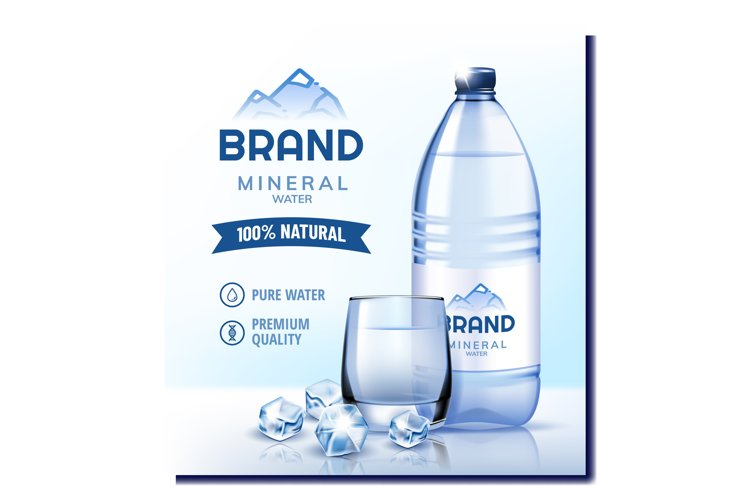 Natural Mineral Water Promotional Poster Vector example image 1