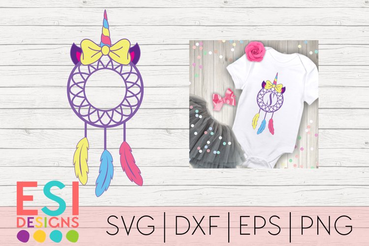 Unicorn Dreamcatcher with Bow | SVG DXF EPS PNG Cut Files