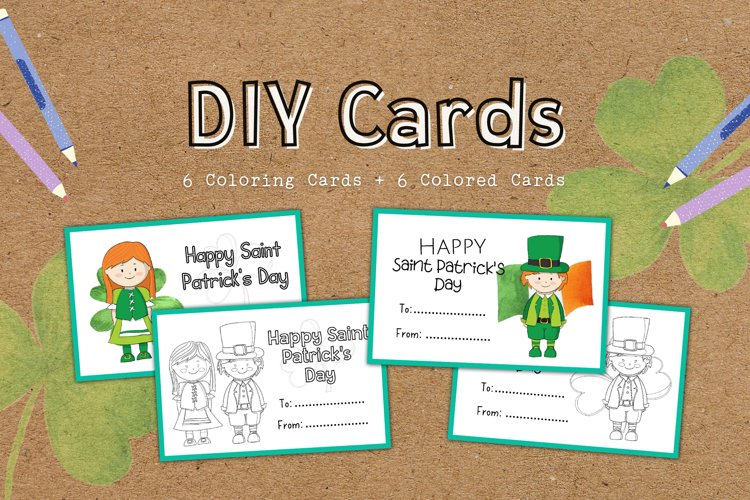 DIY Cards St. Patrick Special Coloring Educational example image 1
