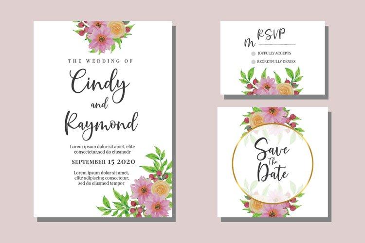 Flower Watercolor Wedding Invitation Set SVG Vintage example image 1