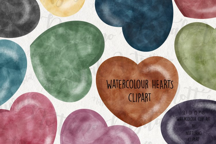 Watercolor Hearts Labels Clipart. Heart Download example image 1